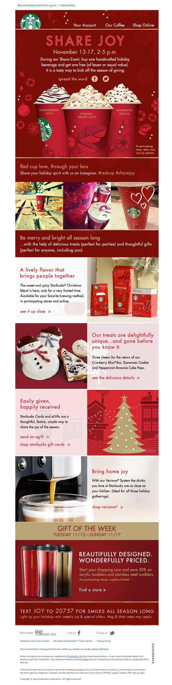 starbucks christmas email